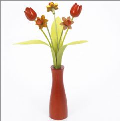3 yellow Daffodils, 2 orange Tulips with 3 green leaves with orange 'cool vase